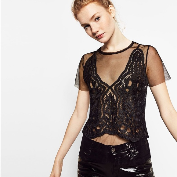 b7d1e598 Zara Lace & Tule Contrast Blouse. M_5b1d5e8195199632fd77c724